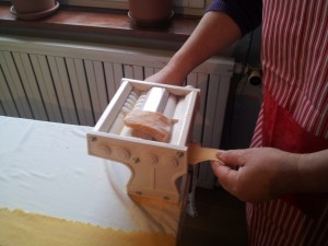 Use pasta machine to stretch pieces